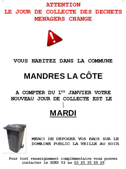 Changement ramassage des ordures