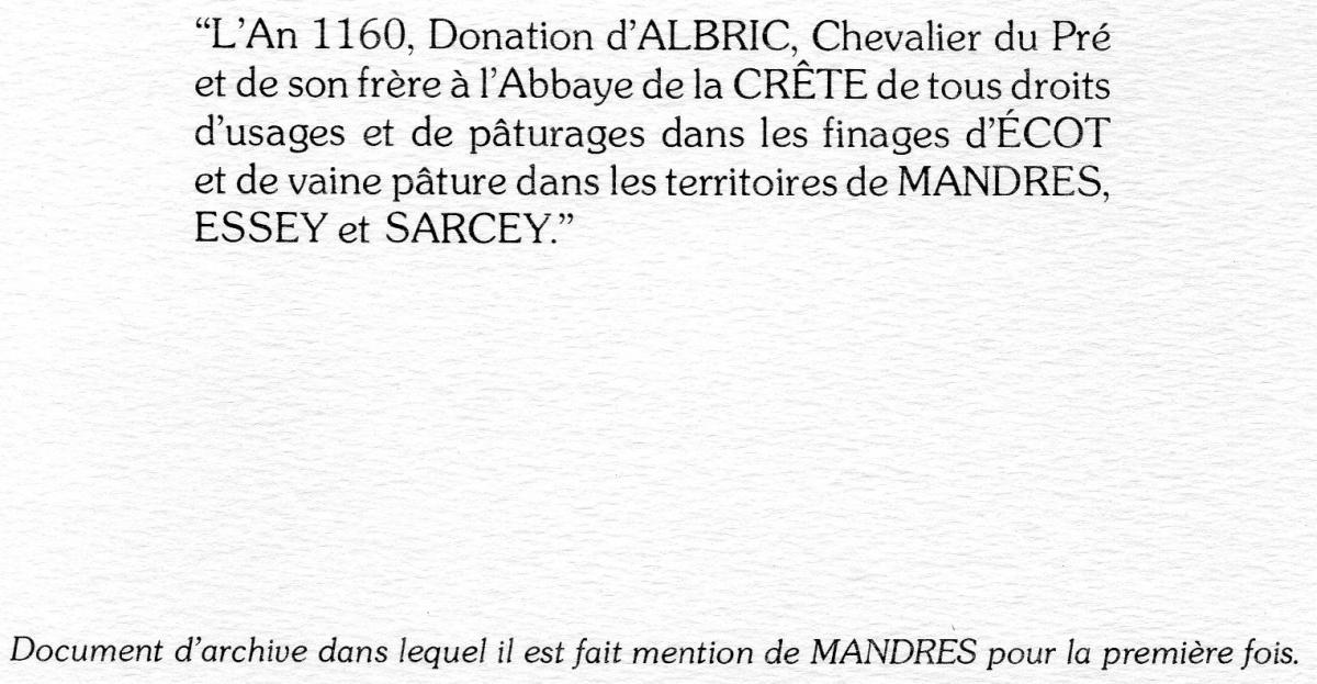 Document d'archive dans lequel Mandres apparaît pour la 1ère fois
